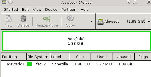 Figure 1: Creating a partition on the USB stick for Clonezilla.